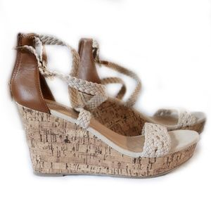 Mossimo Supply Co. Cream & Brown Wedge Sandals